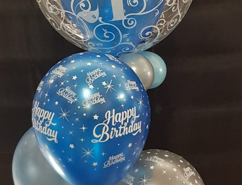 Inserted bubble plus 3 balloons, confetti and base $51.95