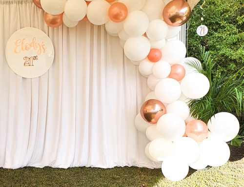 Birthday garland with backdrop. Prices vary.