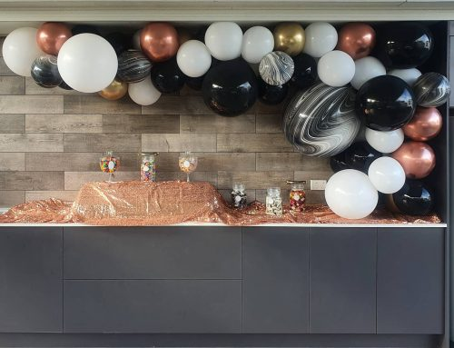 Black, White, Marble Agate, Chrome Gold and Chrome Rose Gold Balloon Garland 3 Metres $285