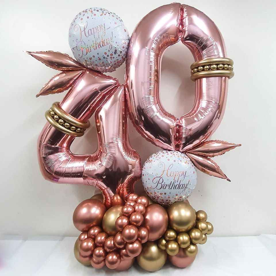 Deluxe Rose Gold 40th Birthday Arrangement