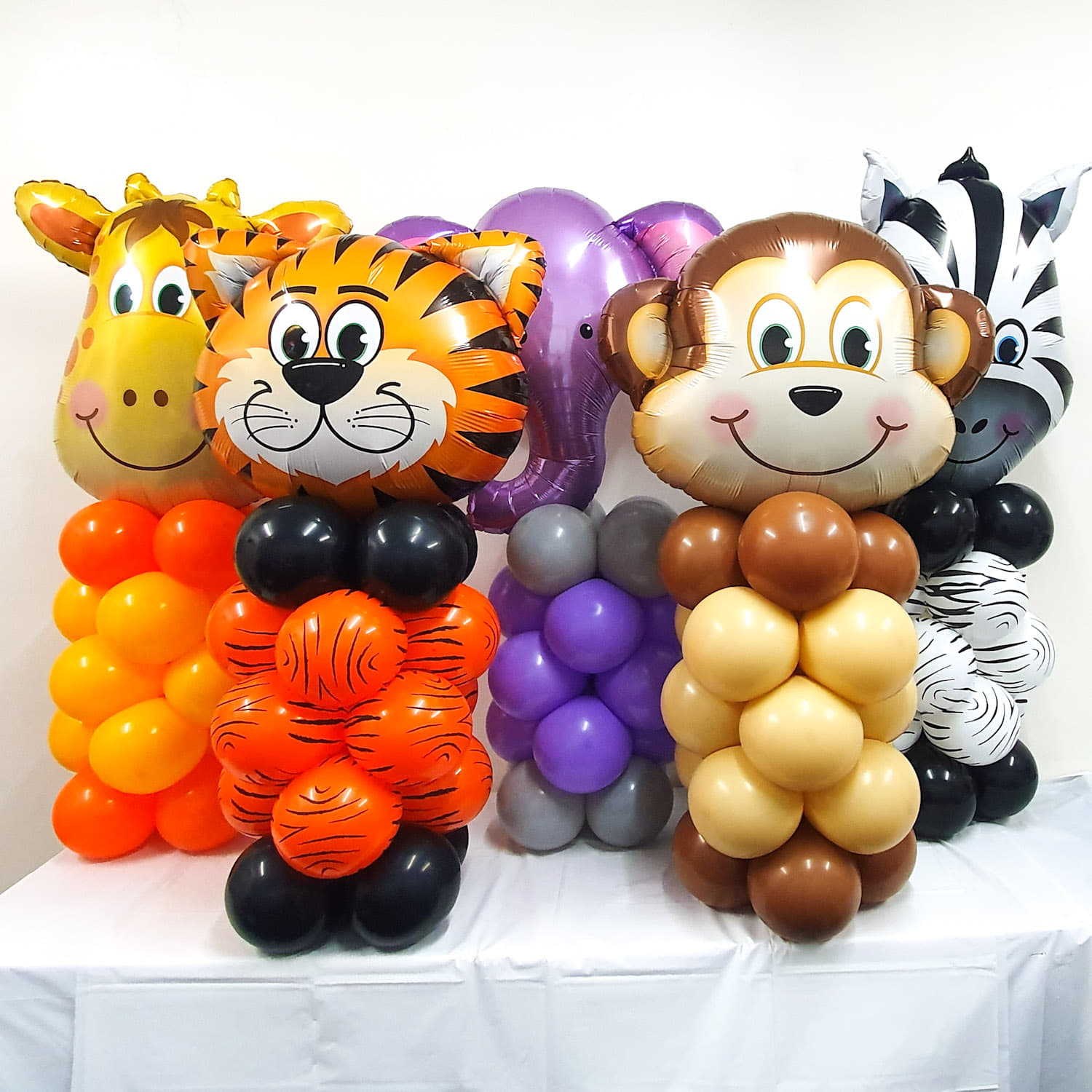 Jungle Animal Balloons Columns