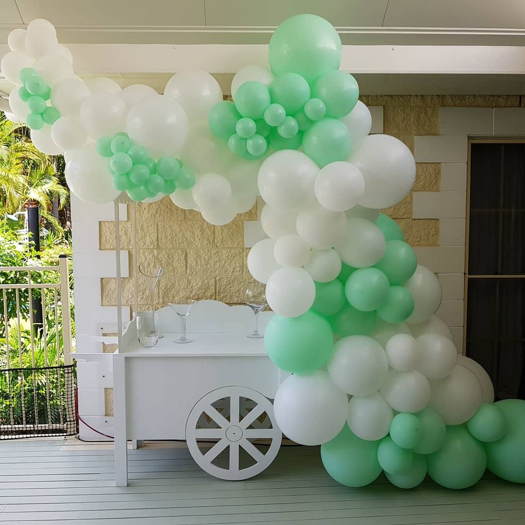 Lolly Cart Hire With Deluxe White and Mint Green Balloon Garland